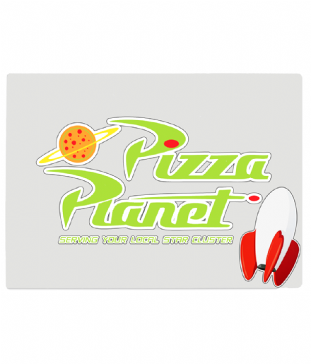 Toy Story Pizza Planet Design Tempered Glass Chopping Board
